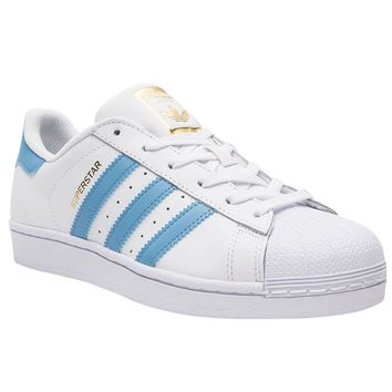 Adidas Superstar Foundation White Blue Mens Leather Trainers