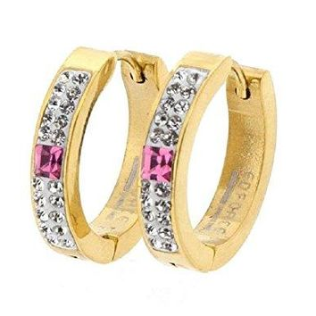 Ben and Jonah Stainless Steel Gold Plated Hoop Earring with Two Stone Columns and Big Square Pink Stone