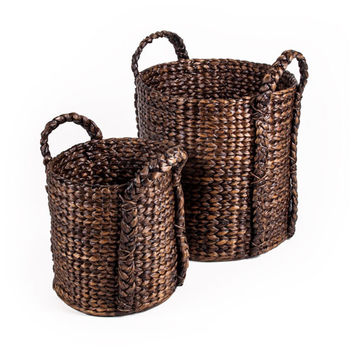 New Rustics Furniture Company PBWHB Patina Bucket Water Hyacinth Basket Set of Two