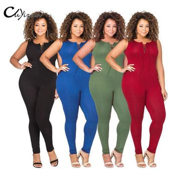 CUYIZAN Large size Womens summer Jumpsuit Fitness Slim Bodysuits Women Romper Be Stretchy playsuits Overalls Big Size Rompers