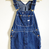 Vintage Lee Denim Overalls -- Womens 70s Overalls -- Made in USA -- Dark Blue Denim -- High Waist -- Wide Leg -- Size Small / Medium