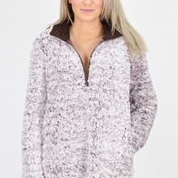 Frosted Sherpa Quarter Zip Pullover {Mocha}