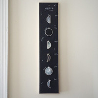 NEW - Sustainable Lunar Calendar - black white stained glass moon phase - celestial - black moon - glass moon - eco friendly
