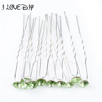 New Arrival Silver Crystal Hair Pins Rhinestone Green Baby Hairpin in Girl 'Hair Accessories Free Shipping