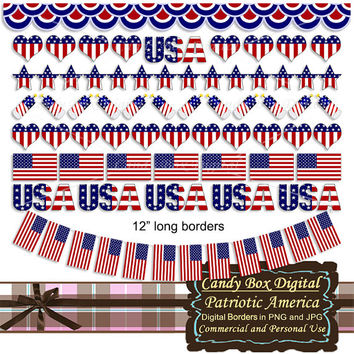 Patriotic border, American border, patriotic clip art, patriotic digital, patriotic clipart, 4th of July, Fourth of July - Commercial OK