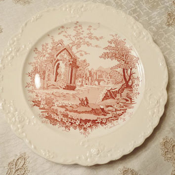 Vintage Porcelain Plate Taylor Smith And Taylor English Abbey Laurel Shape Collectible Red Tranferware Signed