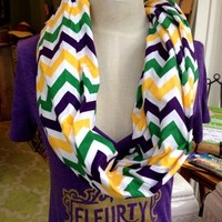 Fleurty Girl - Everything New Orleans - Mardi Gras Chevron Infinity Scarf - Featured Products