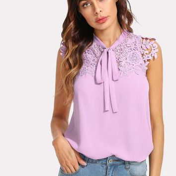 SHEIN Guipure Lace Applique Tied Neck Top