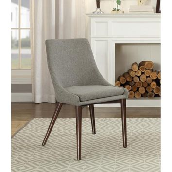 Wooden Side chair With Fabric Upholstered Seat And Backrest, Gray & Brown