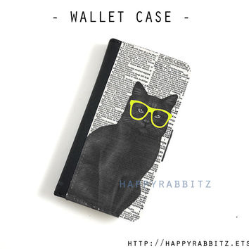 Black Cat iphone 4 case leather , iphone 4s wallet case , iphone 4 wallet case , flip book iphone 4s cover , iphone case