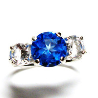 "Blue topaz, topaz accent ring, 3 stone ring,  royal blue white, wedding engagement, anniversary, s 6 1/2   ""Bat those Bambies"""
