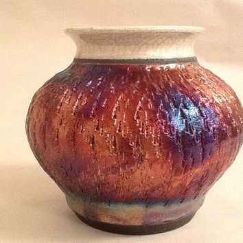 Raku Pottery, Raku Vase, Clay Pot, Textured Pot, Copper Colors
