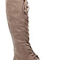 Taupe Faux Leather Miss Military Knee High Lace Up Combat Boots