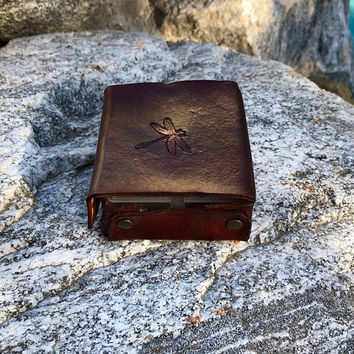 Pill box 7 day, pill organizer,  Dragonfly pill organizer, Leather  pill case, Dragonfly organizer