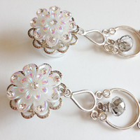 "Wedding Plugs, 000g Dangle Plugs 11mm Crystal Flower Plugs 7/16"" Chandelier Dangles with Rhinestones Wedding Gauged Earrings"