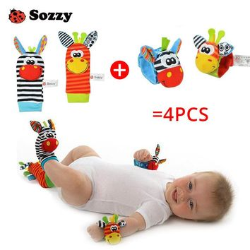 Sozzy 4-Piece Zebra Baby Infant Wrists Rattle and Socks Bell Foot Finders Set Developmental Soft Toys for Children Play Game Gym