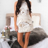 Precious Things Sequin Dress (White/Gold)