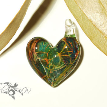 Green Jungle Heart Pendant - Glass Pendant - Glass Jewelry - Love & Energy - Borosilicate - Unique Jewelry - Glass Art - Lush Focal Bead
