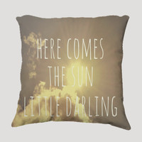 "Throw Pillow-Home Decor- ""Little Darling"" 18 x 18 Pillow-Typography--Sunshine & Clouds-Home Decor-"