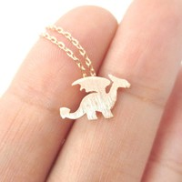 Classic Dragon Silhouette Shaped Pendant Necklace in Rose Gold | Animal Jewelry