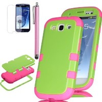 S3 Case, ULAK Samsung Galaxy S3 Case 3in1 Green Hybrid High Impact + Pink Silicone Case Cover For Samsung Galaxy S3 III I9300 W/Screen Guard+Stylus