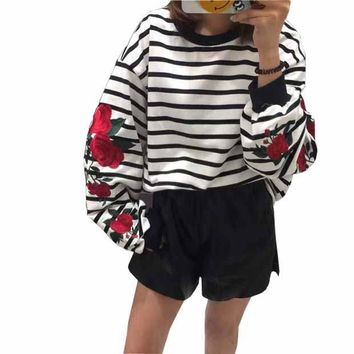 New Autumn Harajuku Hoodies Roses Embroidered Lantern Sleeve Loose Striped Women Sweatshirt Vintage Elegant Casual Tops