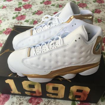 Nike Air Jordan 13 Retro Defining Moments Gold White They can't Win Until 3D cat's eye