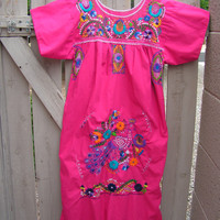 Embroidered Mexican Lace Dress Guatemalan Oaxacan Embroidery Peasant Wedding Dress Hot Pink Floral Peacock Size Large