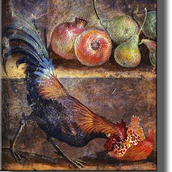 Rooster Picking Pomegranate Seeds Painting on Acrylic , Kitchen Wall Decor, Ready to Hang!.