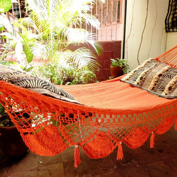 Orange Single Hammock hand-woven Natural Cotton Special Fringe