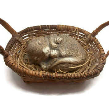 Vintage 1980s Sandicast Sleeping Mouse in Small Wicker Basket Figurine Collectible Knick Knack Signed By Artist Sandra Brue