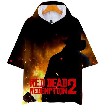 LUCKYFRIDAYF 3D RED DEAD REDEMPTION print Hoodies Women/Men Clothes 2018 Casual Hot Sale Short Sleeve Hooded Kpops Plus Size