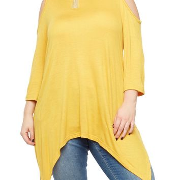 Yellow Cold Shoulder Plus Size Top
