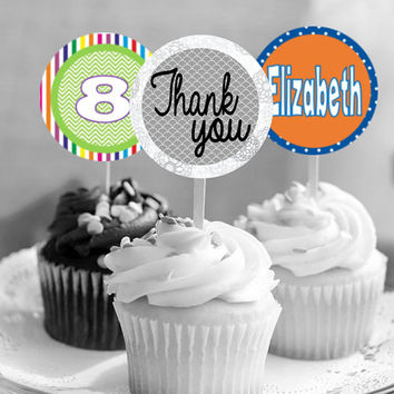 "Printable - PERSONALIZED - Custom 2.25"" Cupcake Toppers, Printable Birthday Party Gift Tags, Toppers, Favor Tags, Thank You, Stickers"