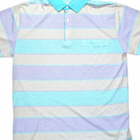 Vintage 90s Baby Blue / Purple Striped Polo Shirt Mens Size Large