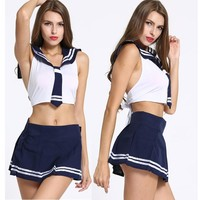 Cosplay clothes women hot school girls cos costumes blue pink Costumes & Accessories Sexy Costumes