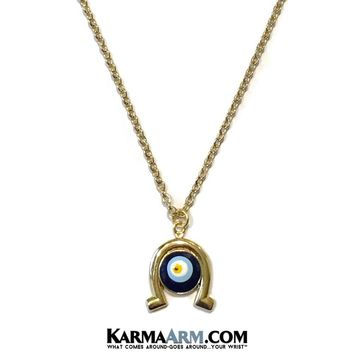 Necklace | GOOD LUCK | Horseshoe | Evil Eye | Blue Enamel | Delicate Chain Necklace