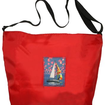 Medium Cross-Body Tote Bag: Small Patch, Red