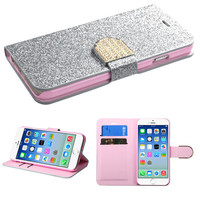 Book-Style Diamante Belt Glittering Wallet iPhone 6 Case - Silver