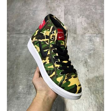 NIKE AIR JORDAN SKHIGH OG X SUPREME Trending Women Men Stylish Comfortable High Help Canvas Flat Sport Shoe Sneakers Yellow Green Camouflage I-CSXY