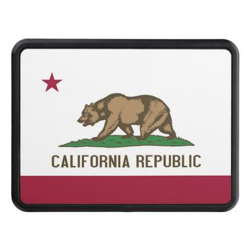 Patriotic hitch cover with Flag of California