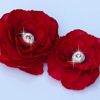Weddings, Bridesmaid Accessories, Set of 2 Red Silk Flowers with Rhinestone Centerpiece hair clips / pins / shoe clips