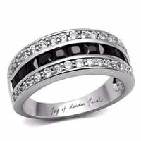 Black Diamond & Russian Lab Diamond Eternity or Wedding Band Ring