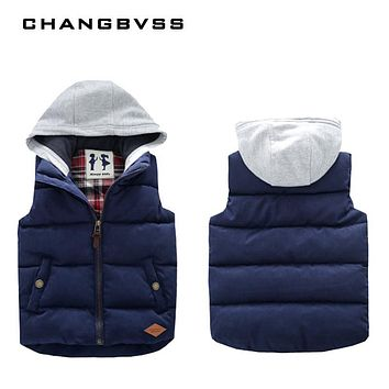 Winter Sleeveless Kids Vest Boys Outerwear Spring Warm Children Vests Autumn Waistcoats Liner Jacket Coat for 3-9 Years Old Boys