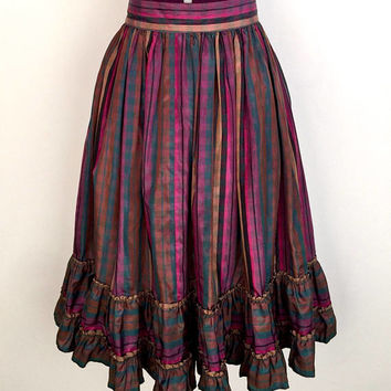 Sensational 1980s multicoloured striped taffeta party skirt with double ruffled hem