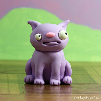 Cute Pet Figurine - Lavender Beast Sculture - Original Sculpture Handmade in Polymer Clay - Offbeat Designer Toy for Kids Teens Adults