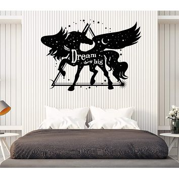 Wall Vinyl Decal Unicorn Pegasus with Wings Dream Big Home Decor Unique Gift z4721