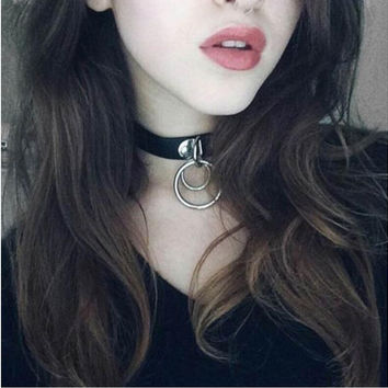 Vintage Bijoux Women Men Jewelry Cool Punk Goth Rivet Choker Necklace Leather Collares Round Metal Pendant Anime Necklaces C665