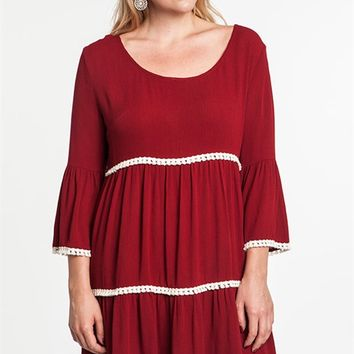 Umgee Plus Wine Bell Sleeve Peasant Dress with Lace Trim