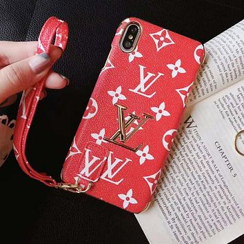 LV Louis Vuitton Fashion Print iPhone Phone Cover Case For iphone 6 6s 6plus 6s-plus 7 7plus iPhone X XR XS XS MAX Red
